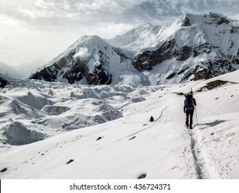 Caravan of porters and climbers on Baltoro Glacier