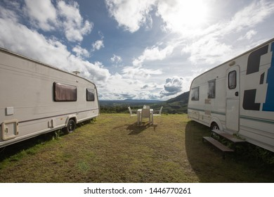 Caravan in a relaxing nature camp site at Khao Kho, Thailand.