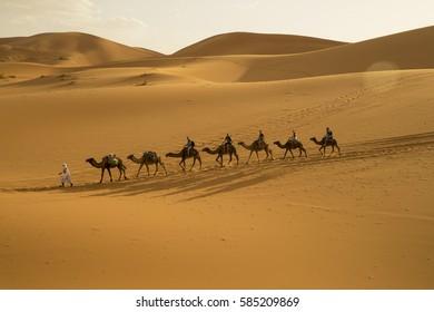 Caravan road in the desert areas, Merzouga, Sahara Desert, Morocco, Africa, 20.10.2016