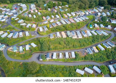 Caravan site park aerial view traveller holiday homes at Cloch site near Wemyss Bay