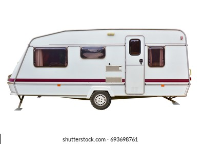 Caravan Sleeping trailer lying motionless isolated on white background. This has clipping path.