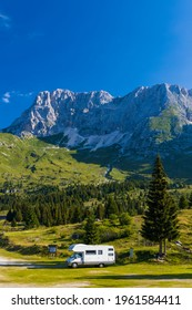 Caravan in summer mountain landscape, Alps, Italy - Shutterstock ID 1961584411