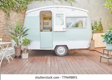 Caravan trailer camping (vintage and retro style caravan)