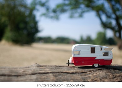 Caravan trailer with countryside background view