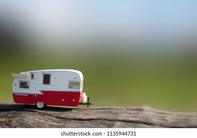 Caravan trailer with view of countryside