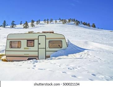 caravan trailer winter snow
