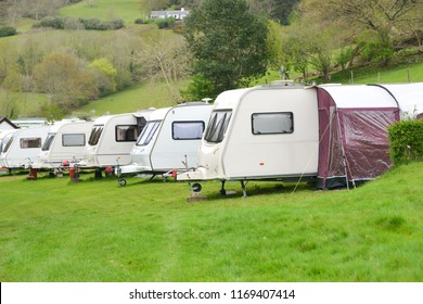 Caravans parked up on rural caravan park in Wales UK.