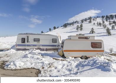 caravans trailers on the snow, winter