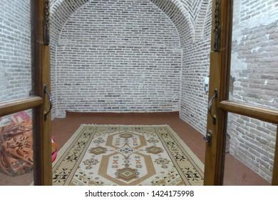 Caravanserai, Kashan, Iran - October 2017 : Interior of a caravanserai or a roadside inn on the ancient Silk Road.