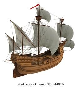 Caravel. 3D Model On White Background.