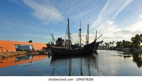 The Caravels of Christopher Columbus (replica), moored in La Rabida, near of Palos de la Frontera where left for the Discovery of America, Huelva province, Spain