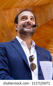 CARBALLINO, GALICIA, SPAIN - JUNE 16, 2018: The Spanish presenter and comedian Roberto Vilar makes the official presentation of the fortieth edition of the Board of Elders, by the Xunta de Galicia.