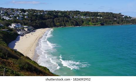 Carbis Bay Beach, near St Ives Cornwall on sunny autumn day, September 2020