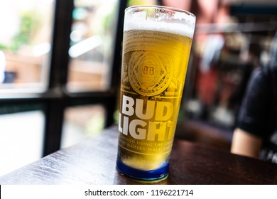 Carbis Bay, St Ives, Penzance, Cornwall - England - 31st August 2018 - A refreshing pint of Bud Light in their new glasses at the Tremenheere JD Wetherspoons pub in the highstreet of Penzance