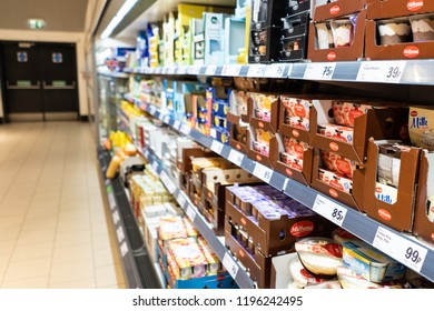 Carbis Bay, St Ives, Penzance, Cornwall - England - 31st August 2018 - Food isles in Lidl supermarket