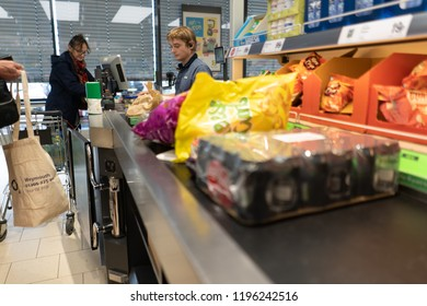 Carbis Bay, St Ives, Penzance, Cornwall - England - 31st August 2018 - Customers at the checkout at Lidl