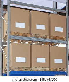 Carboard Boxes at Pallets in Distribution Warehouse