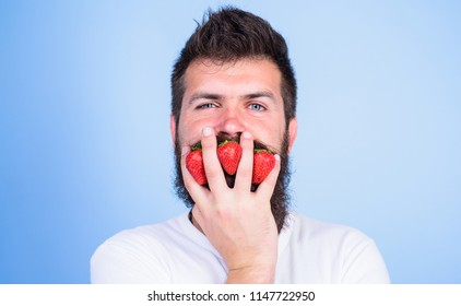 Carbohydrate content strawberry. Strawberries safest fruit for sugar levels. Metabolic disease. Mostly carbohydrates sucrose fructose glucose. Man beard hipster strawberries fingers blue background.