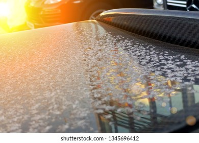 Carbon aerodynamic spoiler of a sports car covered with the first snow.