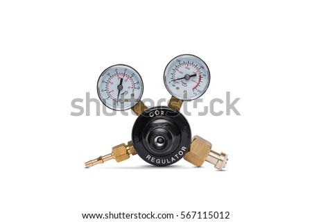 Carbon dioxide - CO2 regulator gauge isolated on a white background