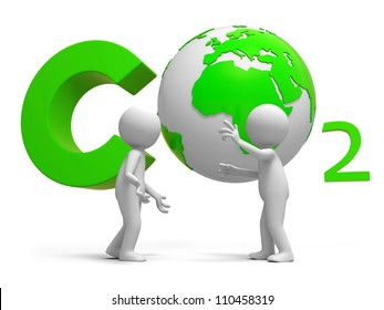 Carbon dioxide /earth/A people standing in front of the Carbon dioxide   symbol thingking