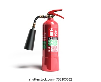 Carbon Dioxide Fire extinguisher 3d render on white background