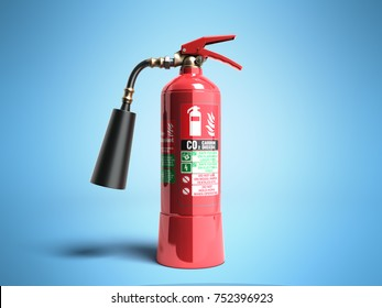 Carbon Dioxide Fire extinguisher 3d render on blue background