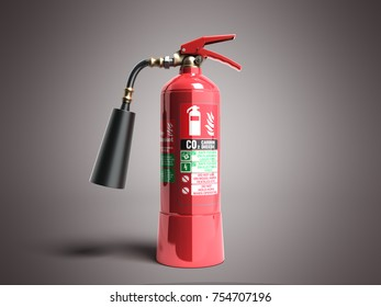 Carbon Dioxide Fire extinguisher 3d render on grey background