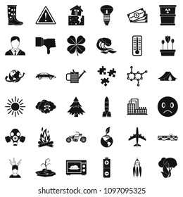 Carbon dioxide icons set. Simple style of 36 carbon dioxide icons for web isolated on white background