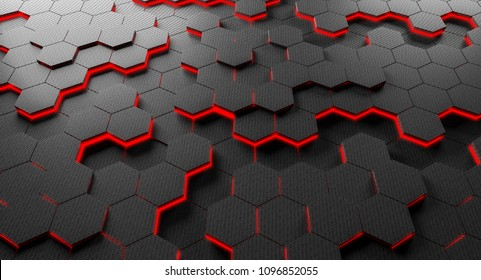 carbon fiber hexagon background 3d rendering image