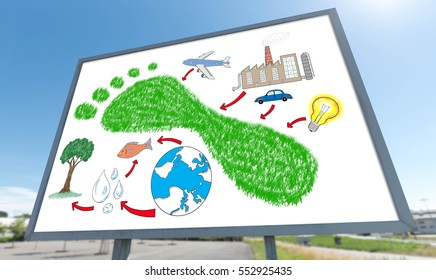 Carbon footprint concept drawn on a billboard