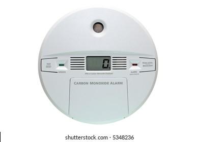 Carbon monoxide alarm isolated on white background.