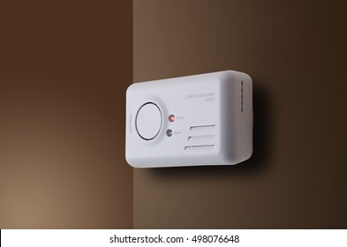 Carbon Monoxide alarm mounted to interior wall