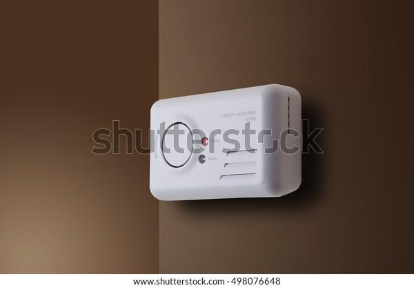 Carbon Monoxide alarm mounted to interior wall