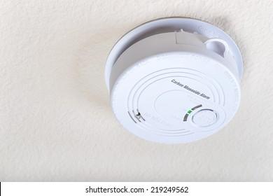 Carbon monoxide alarm on the ceiling