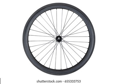 Carbon wheel for road bicycle isolated