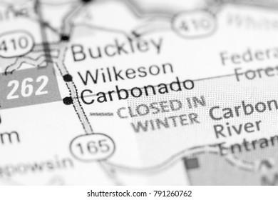 Carbonado. Washington State on a map.