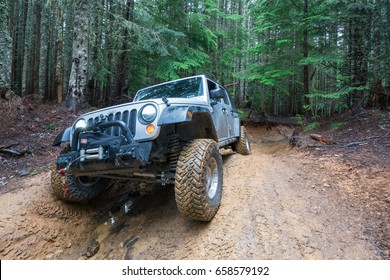CARBONADO, WA/USA - JUNE 10, 2017: A Jeep Wrangler on the trail of Evans Creek ORV Park