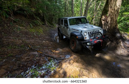 CARBONADO, WA/USA –  May 13, 2017: A Rubicon making a turn around the corner