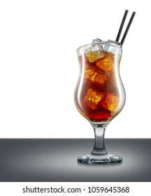 Carbonated cocktail or mocktail in hurricane glass with ice cubes and black straw isolated on mirror table and place for inscription. Clipping path