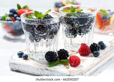carbonated drinks with fresh berries, closeup