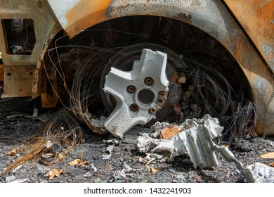 a carbonized car. Completely burnt out and carbonised car