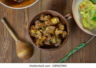 Carbonnade flamande , raditional Belgian, French Flemish,s, Top view.