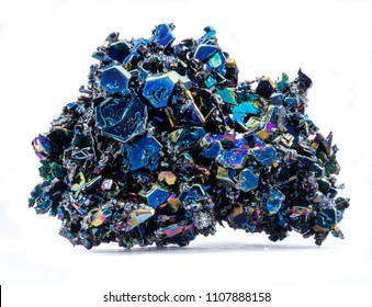 Carborundum (silicon carbide) iridescent mineral, silicon carbon semiconductor crystal, isolated on white background