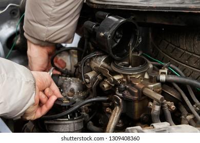 Carburetor machines, mechanisms. Under the hood