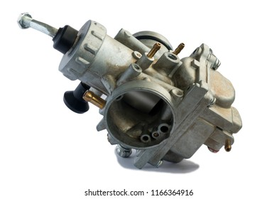 Carburetor for motorcycle part engine on white background