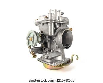 Carburetor motorcycle part engine on white background.