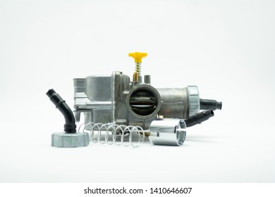 Carburetor, spare parts for motorbike with white background