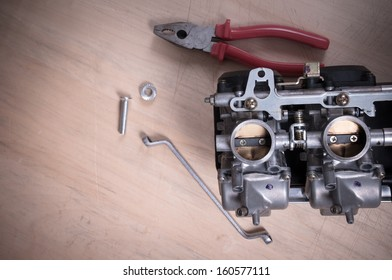 Carburetors for a motorcycle engine