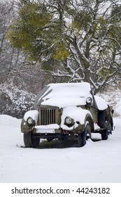 carcass of jeep in winter